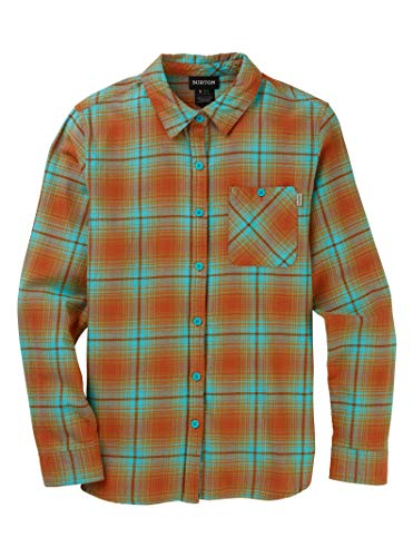 - Burton Women's Grace Long Sleeve Woven Shirt, Blue Curaçao Elias Plaid, XX-Small