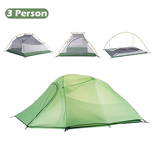 Triwonder 1-2-3 Person 4 Season Camping Tent Lightweight Waterproof Double Layer Backpacking Tent for Camping Hiking (Green - 2-3 Person)