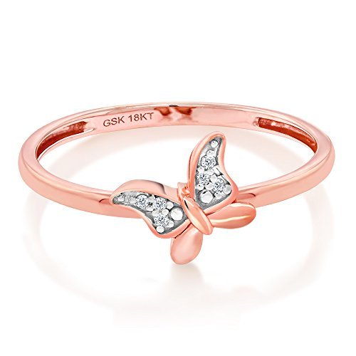 Gem Stone King Solid 18K Rose Gold White Diamond Butterfly Shape Women's Engagement Ring (Size ()