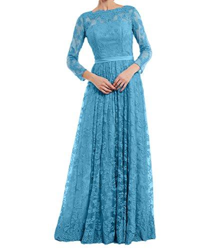 Damen Langarm A Spitze Formalkleider Ballkleider Abendkleider Festlichkleider Blau Charmant Brautmutterkleider Linie Partykleider d54TawWx