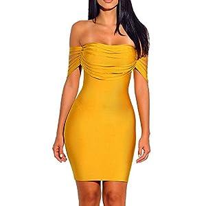 whoinshop Women's Fringe Off Shoulder Brithday Party Mini Bodycon Bandage Dress
