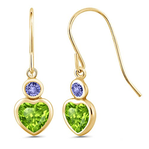 Gem Stone King 1.26 Ct Heart Shape Green Peridot Blue Tanzanite 14K Yellow Gold Earrings ()