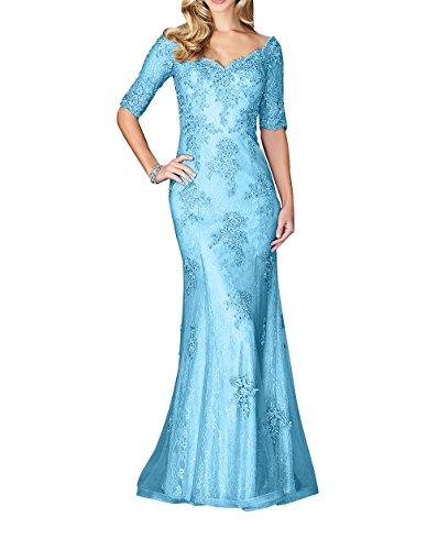 Charmant Brautmutterkleider Langarm Langes Blau Abschlussballkleider Partykleider Damen mit Ballkleider Abendkleider Trumpet Hell wAqTSwp