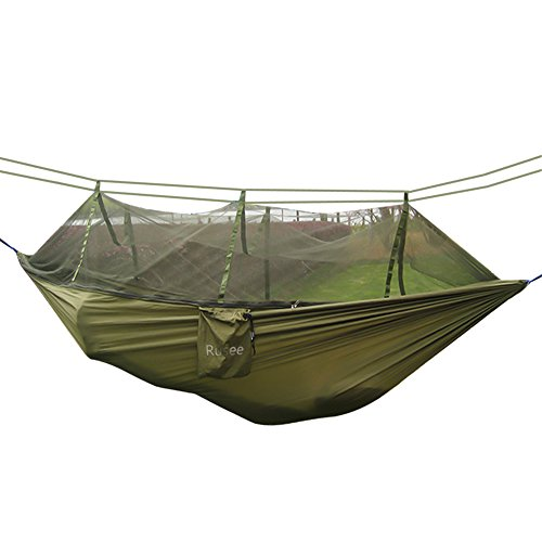 (Rusee Camping Hammock, Mosquito Net Outdoor Hammock Travel Bed Lightweight Parachute Fabric Double Hammock for Indoor, Camping, Hiking, Backpacking, Backyard)