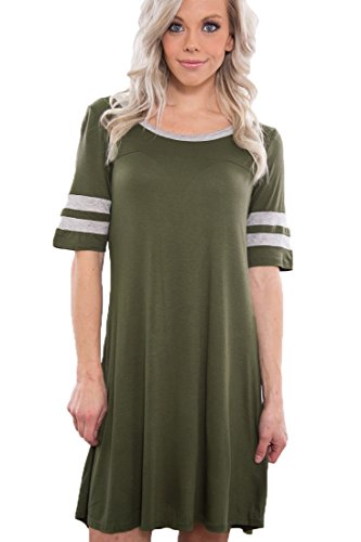 OURS Casual Plain Flowy Simple Swing T-Shirt Loose Dress Army Green, Medium (Green Simple Stripes)