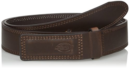 (Dickies Men's Leather Work Belt - Tactical Industrial Mechanic Heavy Duty Strength Strap Covers No Scratch Buckle,Brown,Small)