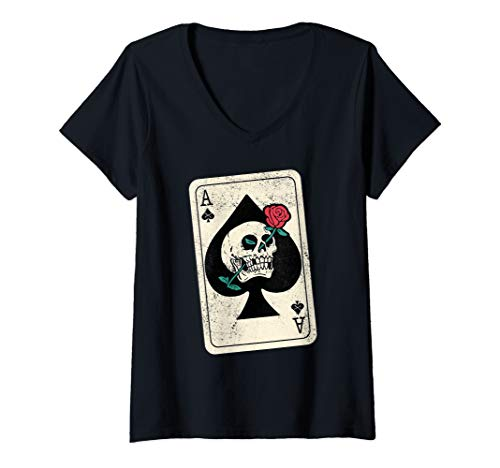 - Womens Ace Of Spades - Skull & Rose V-Neck T-Shirt