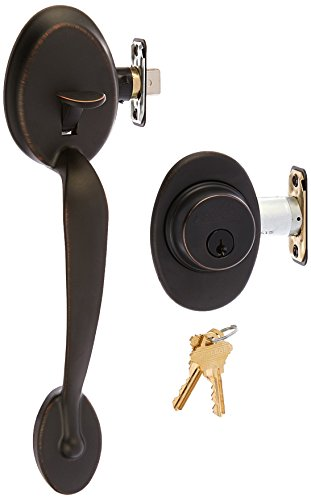 Schlage F62-PLY-GEO Plymouth Double Cylinder Handleset with Georgian Interior Kn, Aged Bronze