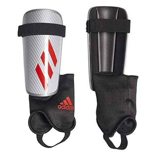 adidas X CLUB Soccer Shin Guards , Silver Metallic/Hi-Res Red S18/Black  , M