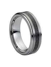 7mm Brushed Center Black Carbon Fiber Inlay Step Edge Tungsten Carbide Wedding Band