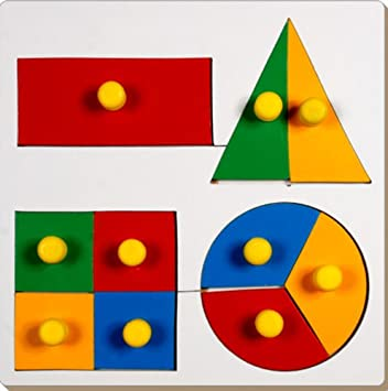 Little Genius Inset Shape Fraction Board with Knob, Multi Color