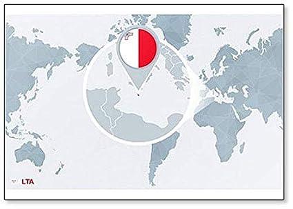 Amazon.com: World Map Centered On Malta. classic fridge ...