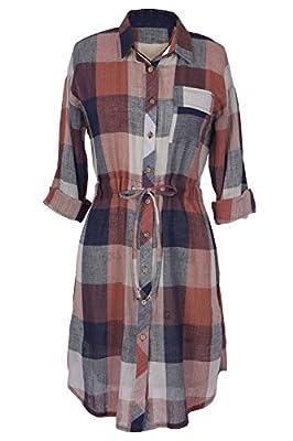 Cupshe Fashion Women's Button Up Plaid Shirt Dress