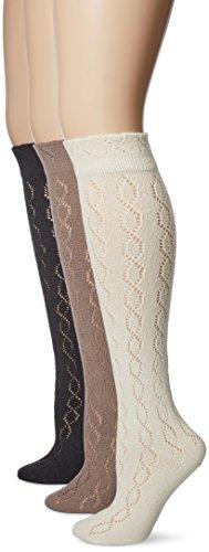 (Muk Luks Women's 18'' Pointelle Knee High Socks, Neutral pack, Multi, One Size (Pack of 3))