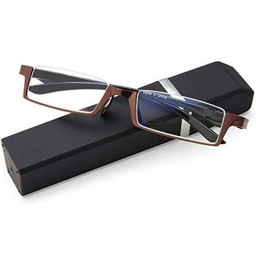 - EYEURL Computer Reading Glasses Men and Women Blue Light Blocking Half Frame Readers for Quality Compact Spring Hinges TR90 Flexible Lightweight Half Moon Shape Unisex Pocket Clip Case Brown1.5