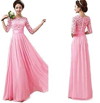 39609192c Duplus Evening Lace Dress For Women - Large, Pink: Amazon.ae ...