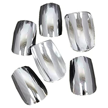 Beauties Factory Nail Art 100pcs Chrome Nails Full False Tips Silver