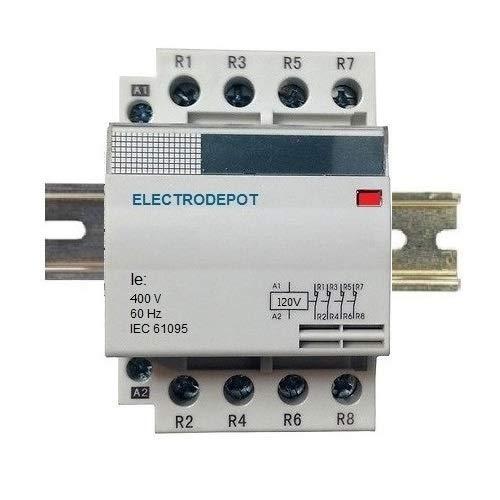 40 Amp 4 Pole Contactor Normally Open (N/O) 120V Coil, 32A Motor, IEC 63A, 40A DIN