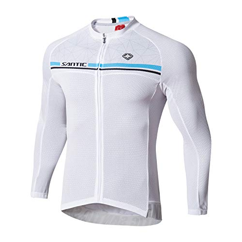 Santic Cycling Jersey Men's Long Sleeve Bike Reflective Full Zip Bicycle Shirts with Pockets White L