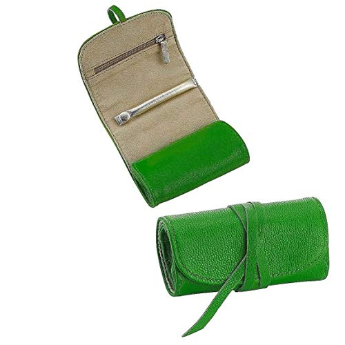 Brights Green Fine Leather Jewel Roll by Graphic ImageTM - Lambskin Drawstring