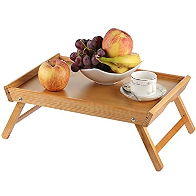 BEEBO BEABO Foldable Breakfast Serving Bed Tray Table, Multifunction Laptop Desk Lap Trays, TV Tray, Reading Tray Holder, Snack Tray or Serving Platter, Hospital Tray - Made from New Zealand Pine Wood