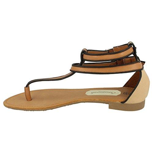 L6746 Sandal Forstropp Tan Svart Flat Dobbelt Tå Stolpe Lang T bar Naken 4w8dxIRqU