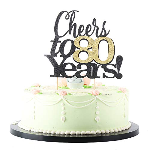 LVEUD Black Font Golden Numbers Cheers to 80 Years Happy Birthday Cake Topper -Wedding,Anniversary,Birthday Party Decorations (80th)
