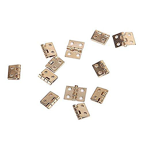 PIXNOR 12pcs Cabinet Closet Mini Hinges with 48pcs Screws for 1:12 Dollhouse Miniature Furniture (Golden)