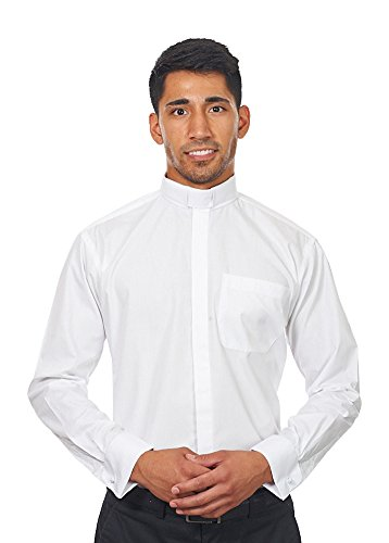 Men's Long Sleeves Tab Collar Clergy Shirt White (16 - 16 1/2 (34-35)) (Clerical Clothing)