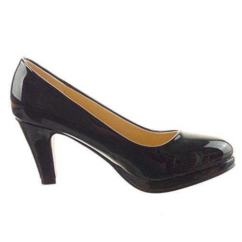 Sopily - Zapatillas de Moda Tacón escarpín Tobillo mujer patentes Talón Tacón ancho alto 8 CM - Negro