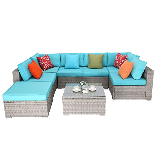 Do4U 8 Pieces Patio Furniture Set Outdoor Sectional Sofa Outdoor Furniture Set Patio Sofa Set Conversation Set with Cushion and Coffee Table Pool Garden (Turquoise)