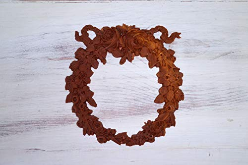 - Bella Cottage Furniture Applique A1004 Chic Rose Floral Wreath DIY Carved Onlay Cabinet