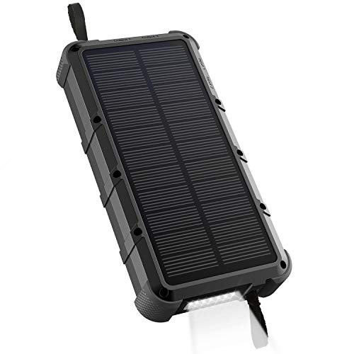 OUTXE Waterproof Solar Power Bank 20000mAh with Flashlight, Dual Input, Quick Charge Rugged Solar Phone Charger