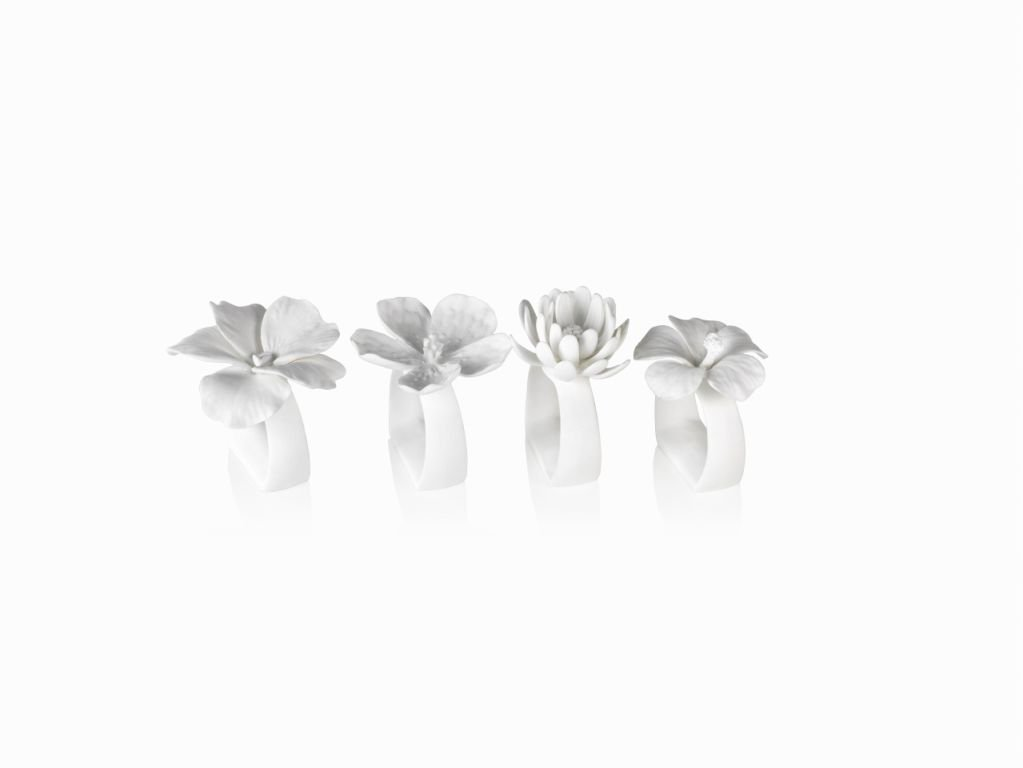 Zodax Assorted Bone China Flower Napkin Rings (Set of 4 ) 2.25