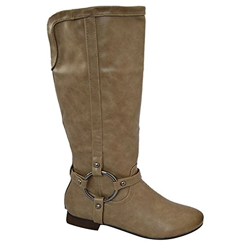 Kahz Global Womens Ladies Cowboy Winter Long Boots - Botas de equitación de sintético para mujer Caqui