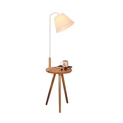 Lámparas de pie de madera nórdicas, iluminación de tela de ...