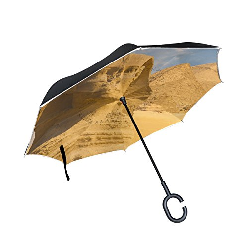 (Egyptian Sphinx And Pyramid Inverted Umbrella Double Layer Windproof, Waterproof Auto Open Reverse Folding Upside Down Car Umbrellas with C Shape Handle)