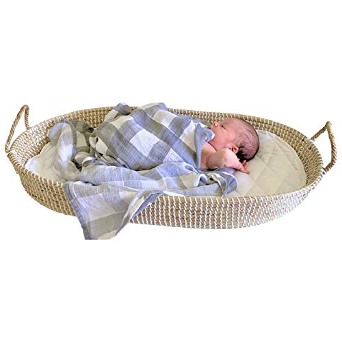 Baby Changing Basket Seagrass Handmade – with Gift Wrapping and Soft Cotton Changing Pad, Portable Diaper Caddy for Nursery Changing Table and Storage