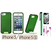 Apple Iphone 5S or Apple Iphone 5 Premium Vivid Hybrid Protector Cover With Pull-Out Stand Case + Screen Protector Film + 3.5MM Stereo Earphones + 1 of New Assorted Color Metal Stylus Touch Screen Pen (Metallic Green Snap-On / Neon Green Rubber inside)