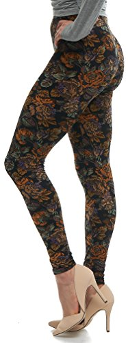 Lush Moda Extra Soft Leggings with Designs- Variety of Prints - 38F, One Size fits Most (XS - XL), Antique Rose