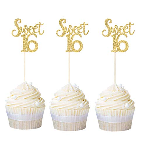 Newqueen 24 Pack Sweet 16 Cupcake Toppers Gold Glitter Age Sixteen Cupcake Picks Anniversary 16th Birthday Party Cake Decors