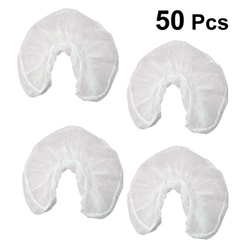 Disposable Headrest Covers Non-Woven Fabrics U Shaped Pillowcase for Hotel Travel 50pcs (White)