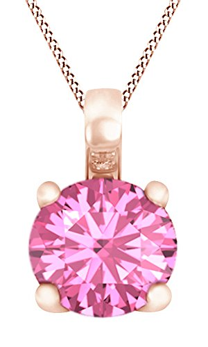 Round Cut Simulated Pink Tourmaline Solitaire Pendant Necklace In 14k Rose Gold (0.25 cttw)