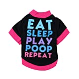 Dog Clothes, Pet Puppy Letter Apparel Cotton T-Shirt For Small Dog Boy (Black, S)