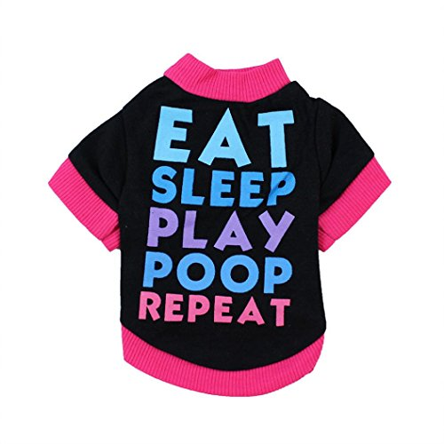 Dog Clothes, Pet Puppy Letter Apparel Cotton T-Shirt For Small Dog Boy (Black, S) Eat Dog T-shirt