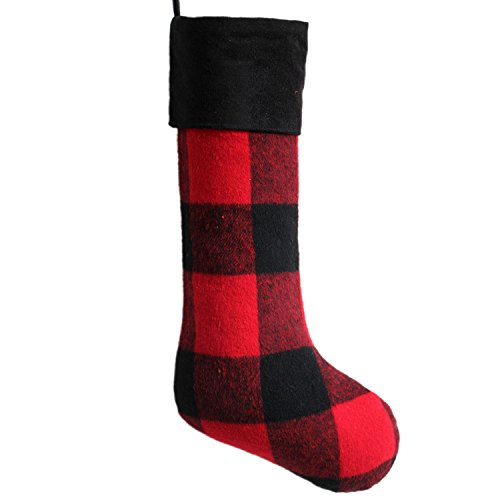 Gireshome Red and Black Buffalo Check Plaid Body,Black Suede Cuff,Yarn-Dyed Style Christmas Stocking, 10