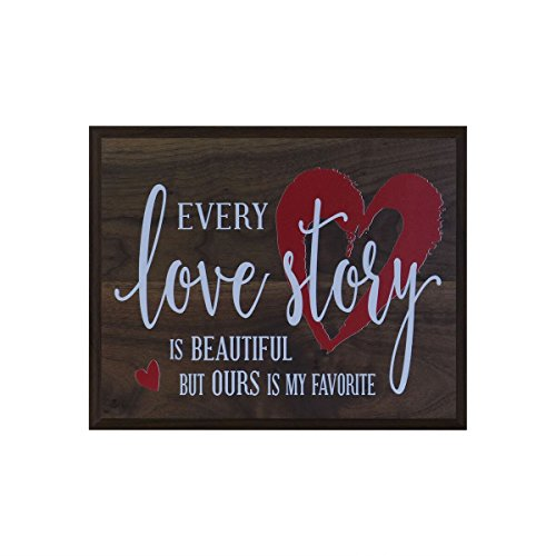 Every Love Story is Beautiful wedding anniversary Gift for husband wife best friend engagement gift ideas w 12 Inches Wide X 15 Inches High Wall Plaque By Dayspring Milestones (Walnut)