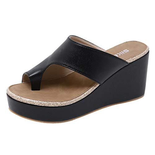 Midress Women's Ladies Toepost Platform Wedges Flip Flops Shoes Slippers Sandals Women's Comfy Shoes Platform Slipper Slide Wedge Sandals