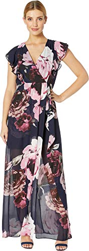 Marina Women's Floral Print Chiffon Dress with Cascade Ruffle Sleeves and Side Cascade Skirt Navy/Multi 8