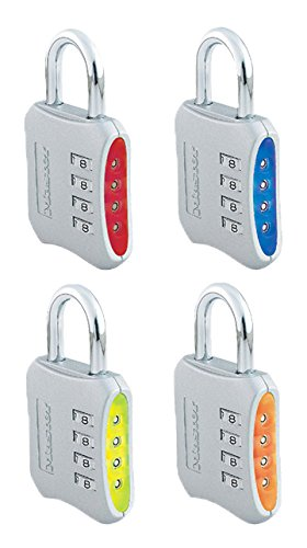 Master Lock 653D Set-Your-Own-Combination 2-inch Padlock, 4-Pack, Color May Vary